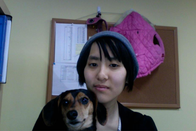 The two adoptees: the author and her pup, Andromeda