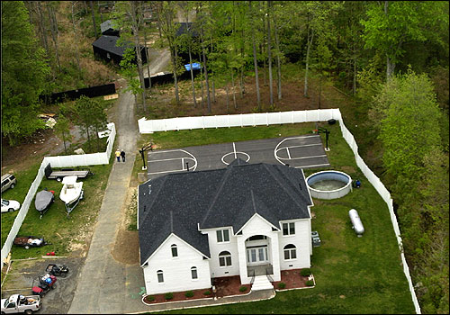Aerial shot of Michael Vick's home with the dogs out back.