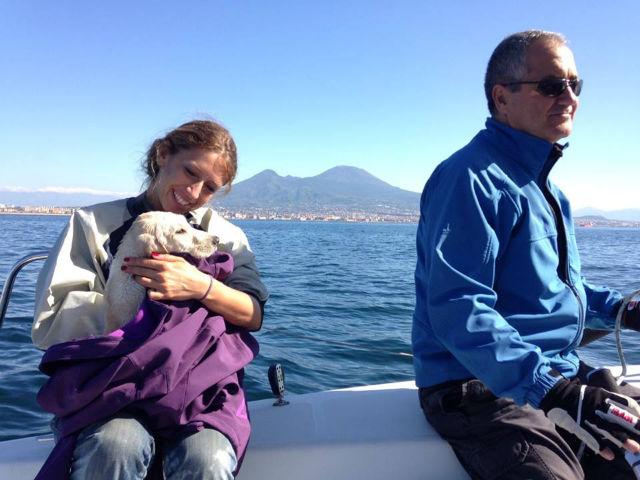 sailors warm up puppy