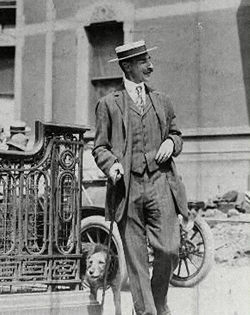 "Astor and his Airedale Terrier, who he called ""Kitty."""