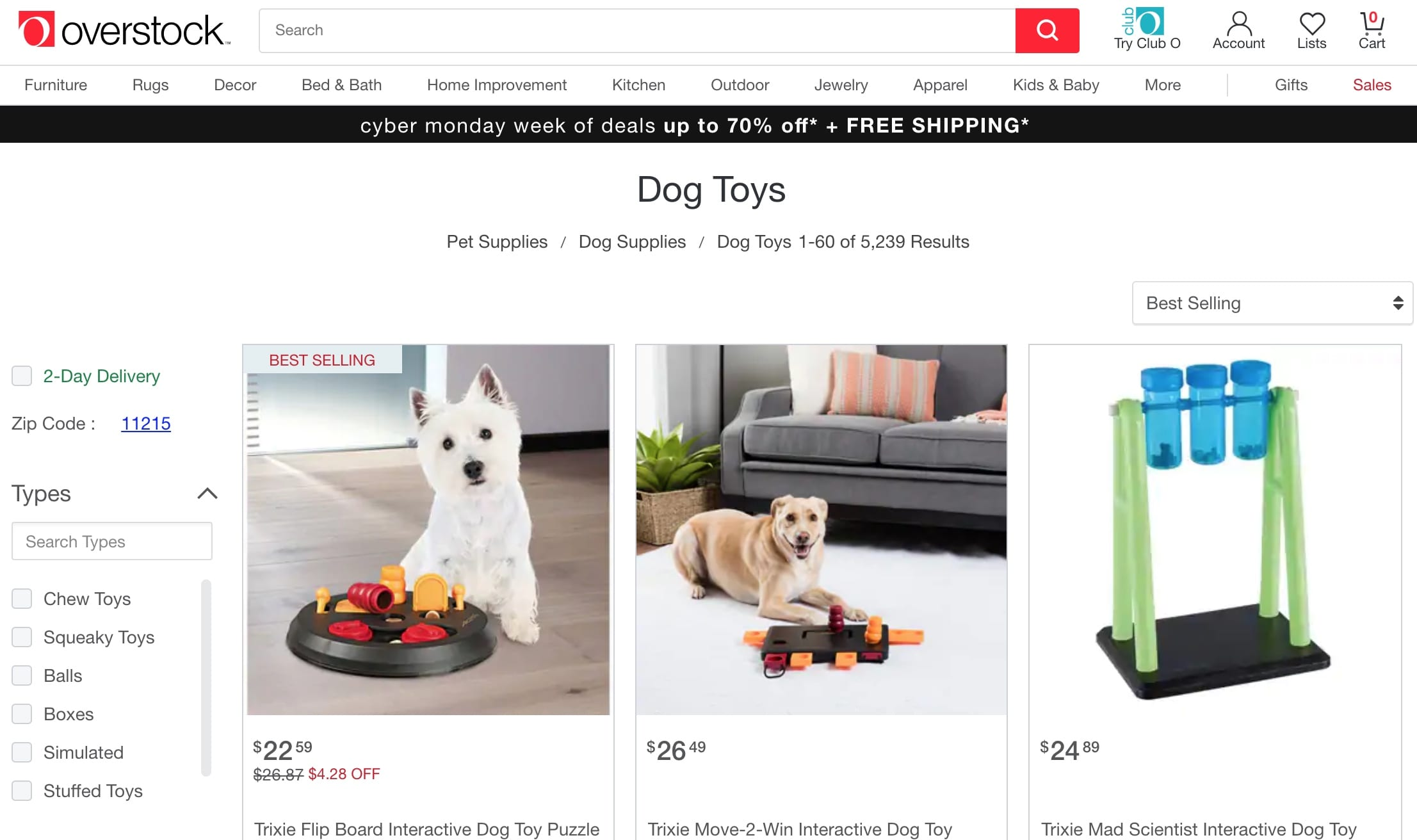 Overstock Dog Toys
